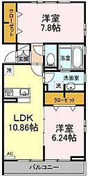 仮称D-room六町SU 3階2LDKの間取り