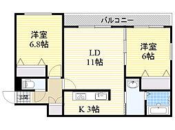 札幌市電2系統 西線16条駅 徒歩4分の賃貸マンション 2階2LDKの間取り