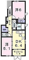 新潟県村上市緑町1丁目の賃貸アパートの間取り