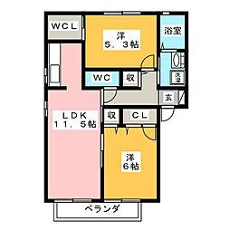 レグルス A[2階]の間取り