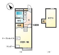愛知県名古屋市天白区天白町大字平針字大根ケ越の賃貸アパートの間取り