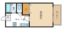大阪府泉南郡熊取町桜が丘1丁目の賃貸アパートの間取り