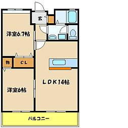 ビレッジコート2[1階]の間取り