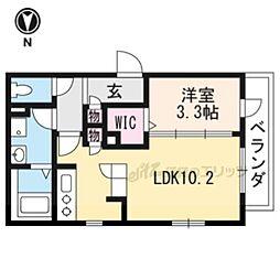 近鉄京都線 上鳥羽口駅 徒歩14分の賃貸アパート 2階1LDKの間取り