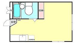 ラプティーハイム 2階ワンルームの間取り