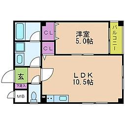 京阪本線 寝屋川市駅 徒歩15分の賃貸マンション 1階1LDKの間取り