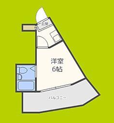 スカイコート恵美須 11階1Kの間取り