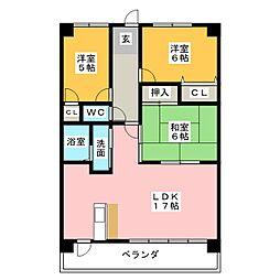 第2ヒルハイツ浅井[3階]の間取り