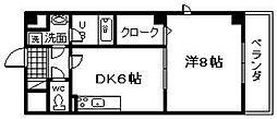 大阪府貝塚市澤の賃貸マンションの間取り