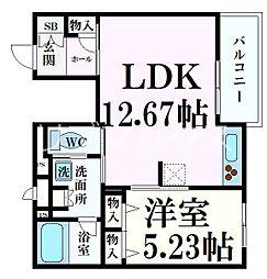 ソフィット六甲 2階1LDKの間取り