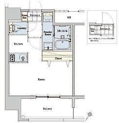 エンクレストベイ天神東III 14階1Kの間取り
