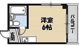 野江II番館 4階ワンルームの間取り