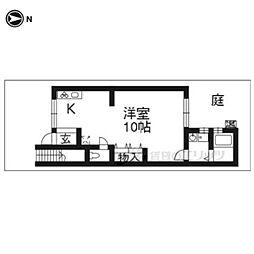 京阪本線 東福寺駅 徒歩9分の賃貸アパート 1階ワンルームの間取り