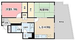 京阪四ノ宮アバンギャルド[101号室]の間取り