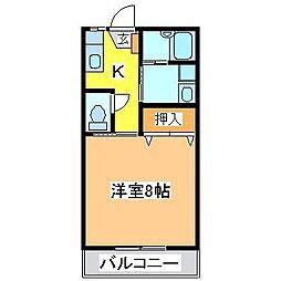 広島県東広島市黒瀬町楢原の賃貸アパートの間取り