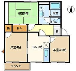 ドミールKUMI2 202[2階]の間取り