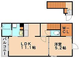 福岡県春日市下白水南5丁目の賃貸アパートの間取り