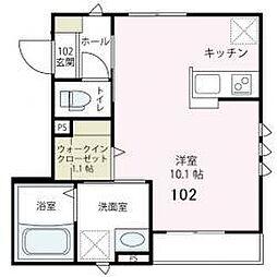 神奈川県横浜市南区若宮町4丁目の賃貸アパートの間取り