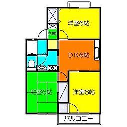 コーポ桜井B[203号室]の間取り