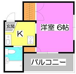 スチューディオ2[2階]の間取り