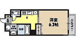 ヴァンスタージュ関目 4階1Kの間取り