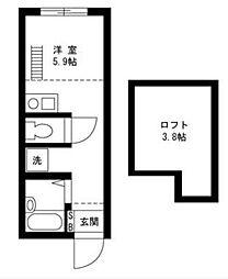 上矢部アパートメントB棟[1階]の間取り