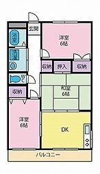 パールハイツ徳行[4階]の間取り
