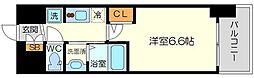 エステムコート新大阪14アイシー 13階1Kの間取り