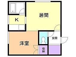 コートハウス愛宕B棟 1階1LDKの間取り