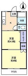 第1小野田ハイツ[1階]の間取り