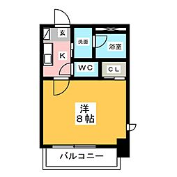 ヴィークブライト名古屋新栄 4階1Kの間取り