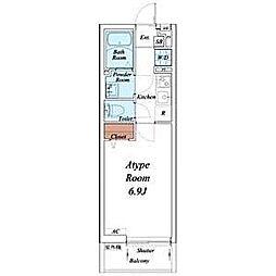 名古屋市営東山線 覚王山駅 徒歩14分の賃貸マンション 3階1Kの間取り
