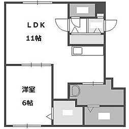 北海道札幌市豊平区平岸六条12丁目の賃貸マンションの間取り