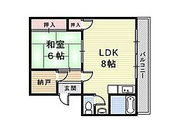 兵庫県尼崎市元浜町3丁目の賃貸マンションの間取り