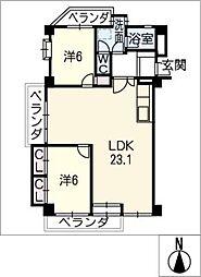 パレス鹿子殿[2階]の間取り