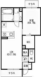 (仮)西区丸塚D-room 1階1LDKの間取り