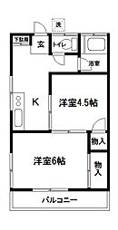 東京都府中市寿町2丁目の賃貸アパートの間取り