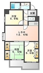 レグノアレッタ[5階]の間取り