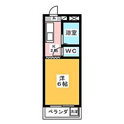 コーポ大桜I 2階1Kの間取り