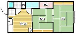 中西ハイツB棟[1階]の間取り