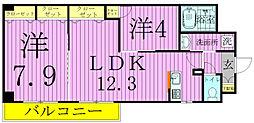 千葉県柏市大山台2丁目の賃貸マンションの間取り