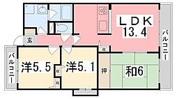 兵庫県姫路市別所町佐土1丁目の賃貸マンションの間取り