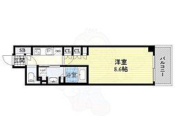 JR東西線 北新地駅 徒歩1分の賃貸マンション 13階1Kの間取り