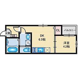 名古屋市営東山線 岩塚駅 徒歩5分の賃貸アパート 3階1DKの間取り