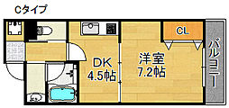 エテックUMIO 6階1DKの間取り
