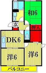 埼玉県吉川市道庭2丁目の賃貸アパートの間取り