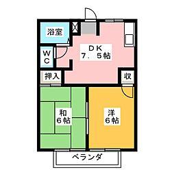エルディム岡田[2階]の間取り