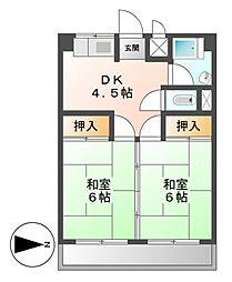 愛知県名古屋市北区若葉通3丁目の賃貸マンションの間取り