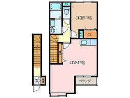 三重県松阪市久米町の賃貸アパートの間取り