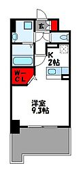 JR篠栗線 柚須駅 徒歩24分の賃貸マンション 3階ワンルームの間取り
